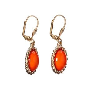 Coral Oval Drop Earrings