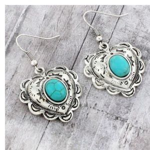 Faux Turquoise Textured Heart Earrings