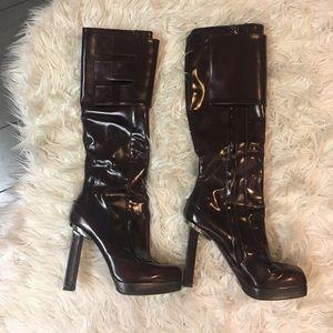 """Lanvin Maroon Platform 5"""" Heel Knee high boots"""