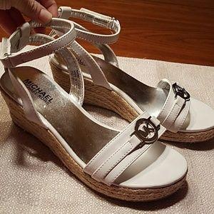 MK White Espadrille Wedge Sandals
