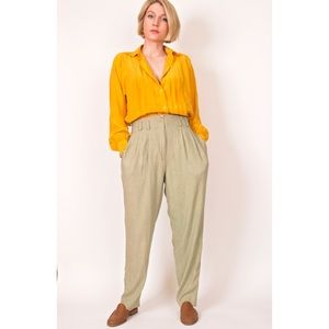Vintage 80s green high waisted trouser pants