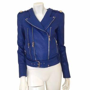 Balmain leather blue jacket