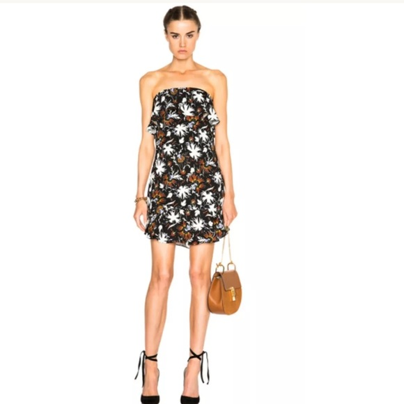 Romy Strapless Floral Silk Mini Dress A.L.C.