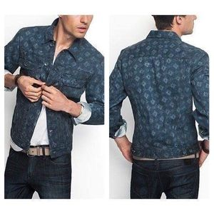 NWT GUESS Geo-Print Denim Jacket -Premium Denim