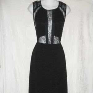 New ASTR Black Chiffon Lace Trim Maxi Dress S 2 4