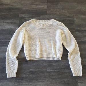 White Waffle F21 Cropped Sweater Long Sleeve