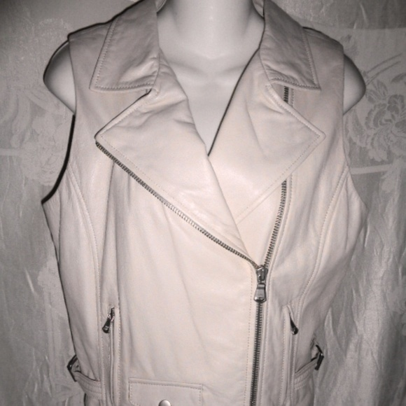 Anthropologie Jackets & Blazers - New JUNE Beige Leather Moto Vest M 6 $500