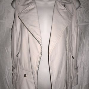 Anthropologie Jackets & Coats - New JUNE Beige Leather Moto Vest M 6 $500