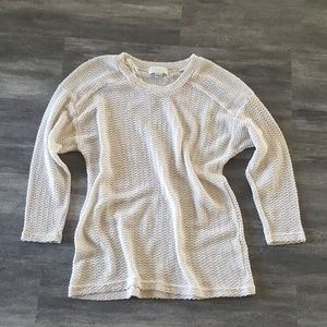 Cream Waffle F21 Sweater 3/4 Sleeve