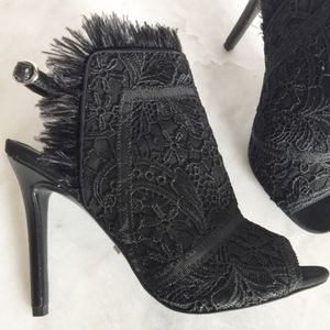 Feather Lace Peep Toe Sandals NEW Topshop