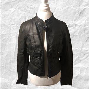 Bebe Faux Leather Black Moto Jacket Large