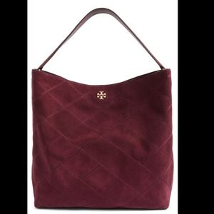 TORY BURCH Frida Stiched Suede Hobo