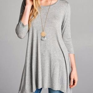 f681eab639a Tops - 3 4 Sleeve 95 5 Rayon Spandex Solid Tunic Top