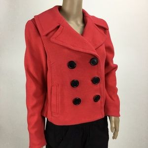 INC International Concepts Red Cotton Pea Coat MED