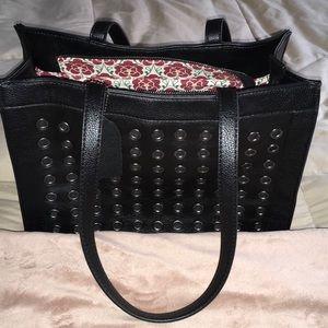 Emma Fox Black Leather Satchel Bag