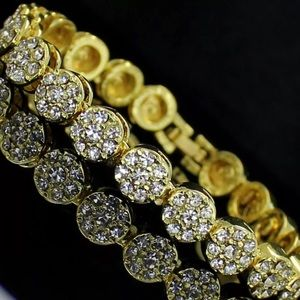 Other - NEW Gold Cluster 8mm Mens Iced Out Tennis Bracelet