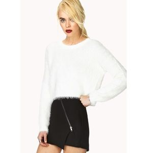 White fuzzy cropped sweater