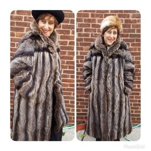 Gorg full-length vintage raccoon coat L - 1X