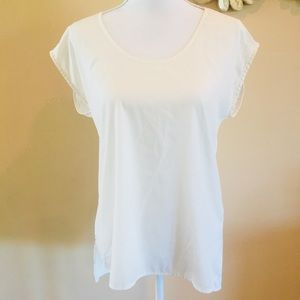 14th & Union by Nordstrom White Sheer Drape Top