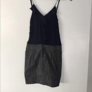 Dark Grey Denim and Cotton Dress