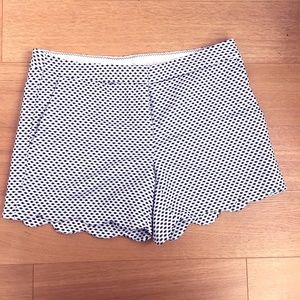 White and Blue Scalloped Short