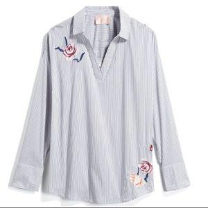 NWT Embroidered Poplin Dress Shirt