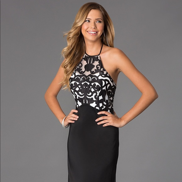 Masquerade Black White Halter Dress Sz 7 8 NWT