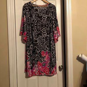 Black, white, and pink floral dress