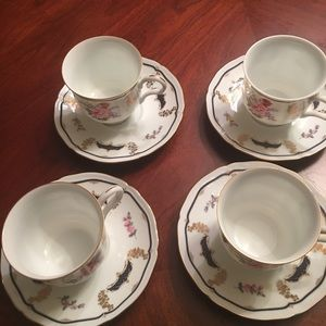 "mikasa Kitchen - Footed cup and saucer "" mikasa"" serving of 4"