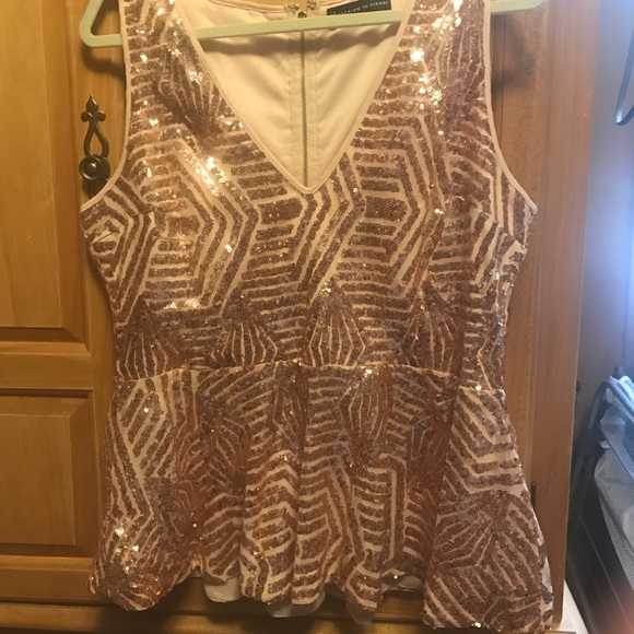 b0fd0c7fa13 Fashion to Figure Tops - Sparkly sequin plus size rose gold peplum top