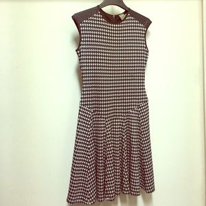 Houndstooth Dress, w/Leather-like shoulder accent