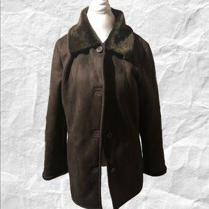 UTEX Chocolate Brown Faux Fur Jacket