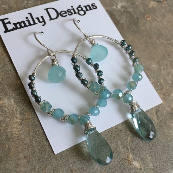 emily designs Jewelry | Cool Blue Wire Wrap Hoop Earrings Sterling ...