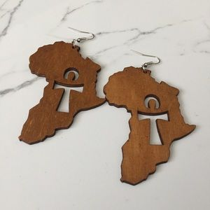 Jewelry - Wood Africa Ankh Earrings in Brown