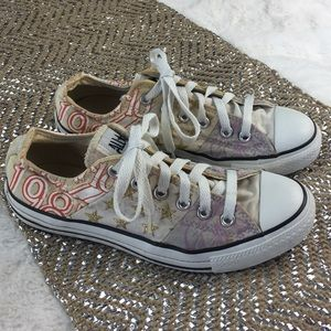 Graphic CONVERSE Sneakers  men's 5 woman's 7 GOLD