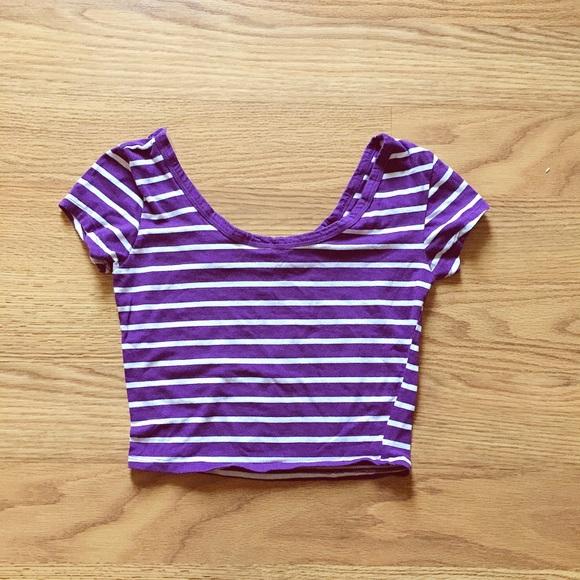 Lavender Striped Crop Top N1BRHL