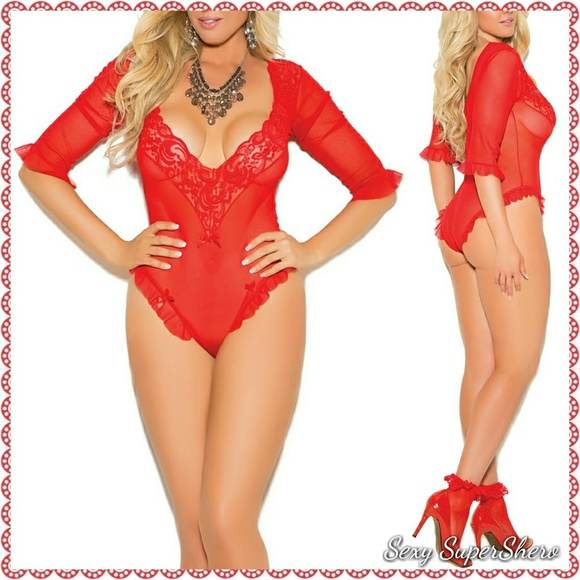 f6747a0f8a19be PLUS Red Sexy Mesh   Lace Teddy Lingerie Set