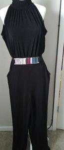 NY & Co.Black Halter jumpsuit w/chrome buckle belt