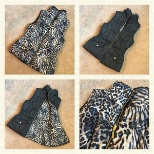 Reversible Leopard/Black women's vest size:medium