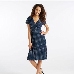 562263c3e458 L.L. Bean Dresses - L.L.Bean Summer Knit Dress, Short-Sleeve Polka Dot