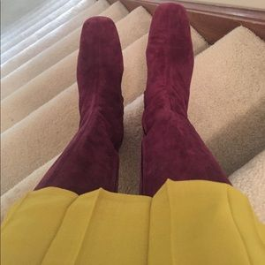 Tall cranberry suede boots - Excellent condition.