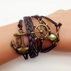 🍂New Brown & Gold Nautical Strap Bracelet w/charm