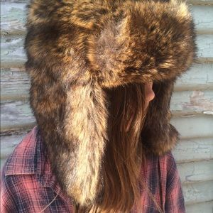 Faux fur trapper hat with ball tassels brown boho