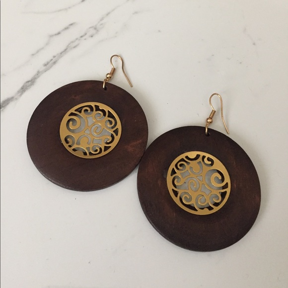 Jewelry - Wood & Gold Inlay Dangle Earrings