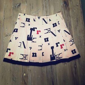 Pink Trina Turk multi-colored pleated silk skirt