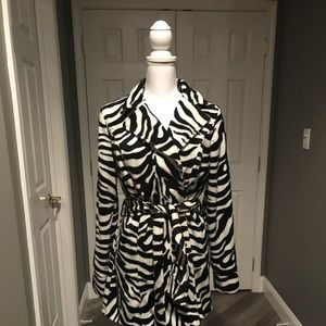 Zebra print plush lightweight Heart Soul M jacket