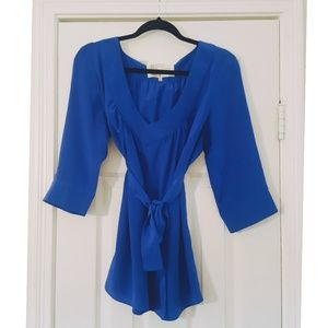 Blue blouse with sash