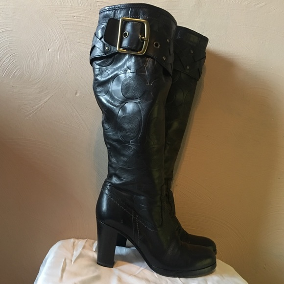 5b074ee9bfe Coach Meadow Knee High Boots Embossed Signature
