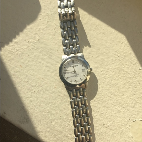Tourneau Silver bracelet watch with white face