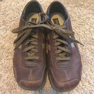 Men's brown leather Skechers
